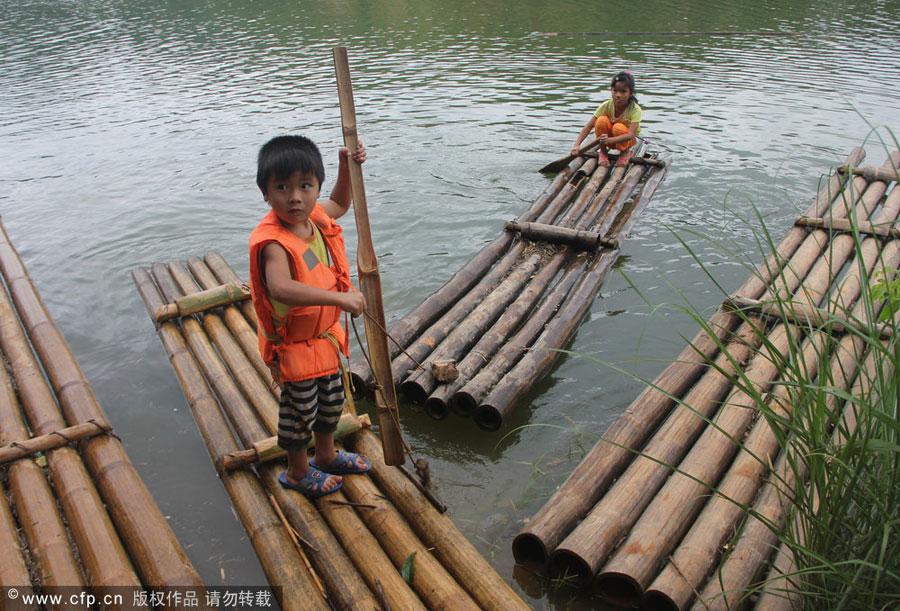 Rafting to school