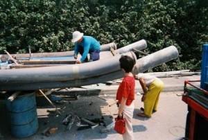 bamboo raft, bamboo boat