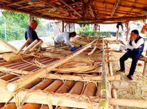bamboo boat, bamboo raft